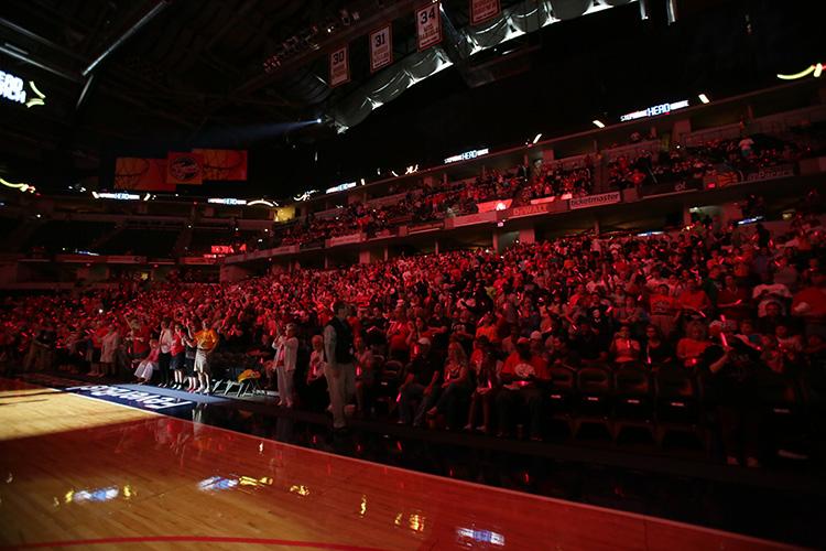 Indiana Fever crowd with glow sticks