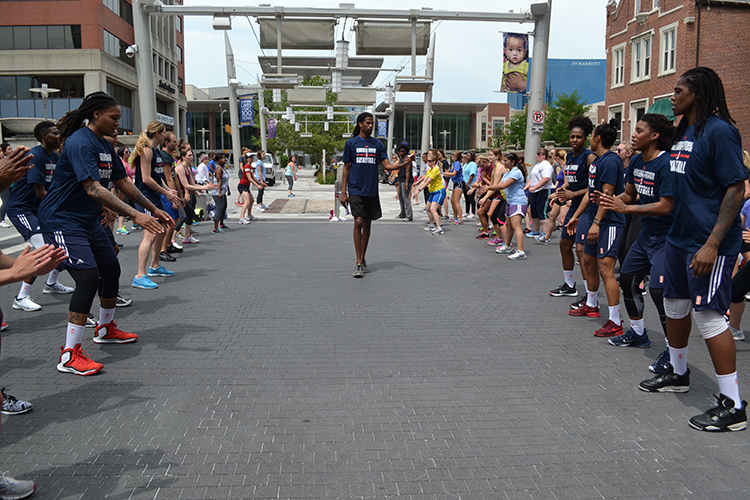 The Indiana Fever takes on Workout Wednesday with downtown Indy