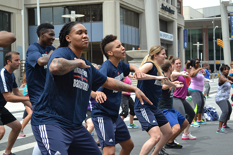 Fever players get moving during the zumba Workout Wednesday class