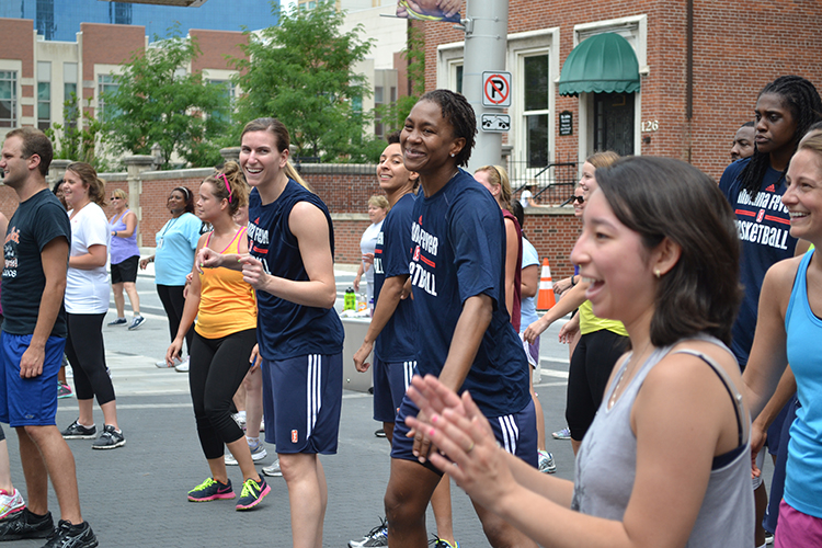 Tamika Catchings and Jeanette Pohlen at Workout Wednesday