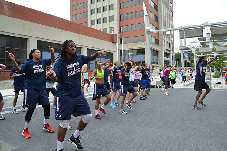 The Indiana Fever shows off their dance moves at zumba for Workout Wednesday