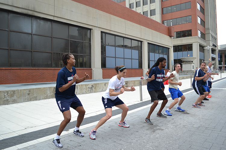 Coach White and Tamika Catchings lead the zumba class for Workout Wednesday