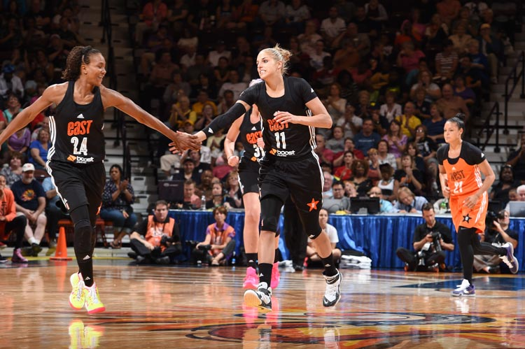Tamika Catchings and Elena Delle Donne at WNBA All-Star 2015