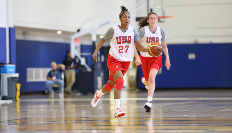Briann January with USA Basketball